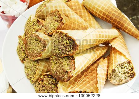 pistachio chocolate waffle cones at the candy bar