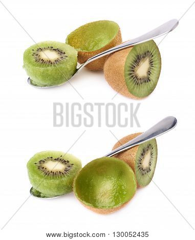 Eating kiwifruit chinese gooseberry kiwi with a teaspoon, composition isolated over the white background, set of two different foreshortenings