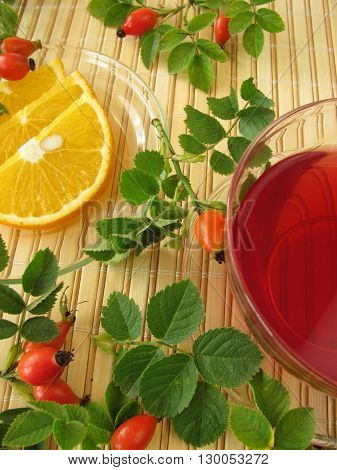 Fruit tea with rose hips and oranges