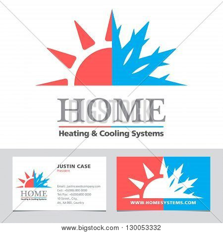 Heating & Cooling systems business icon & business card vector template. Brand visualization template. Vector illustration symbolizing home cooling & heating climate control system. Typography proposal, sample text. Editable