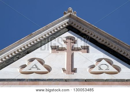 FLORENCE, ITALY - JUNE 05: Cross, Basilica di Santa Croce (Basilica of the Holy Cross) - famous Franciscan church in Florence, Italy, on June 05, 2015