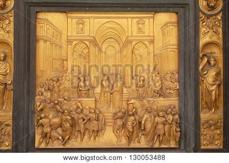 FLORENCE, ITALY - JUNE 05: Baptistry of Saint John, Gates of Paradise, Queen of Sheba and King Solomon, Florence, Italy on June 05, 2015