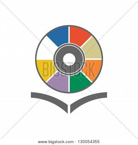 Music library with colored cd disc and open book vector illustration isolated on white background.