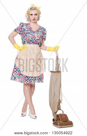 Unhappy Retro Housewife, With Vintage Vacuum Cleaner, Isolated On White
