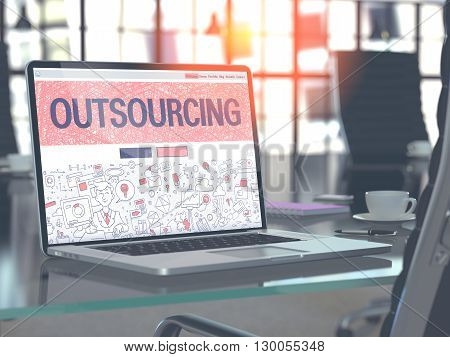 Outsourcing Concept. Closeup Landing Page on Laptop Screen in Doodle Design Style. On Background of Comfortable Working Place in Modern Office. Blurred, Toned Image. 3D Render.