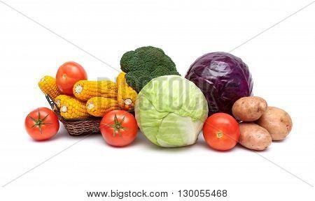ripe vegetables close-up isolated on white background. horizontal photo.