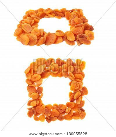 Square shape made of dried orange apricots over isolated white background