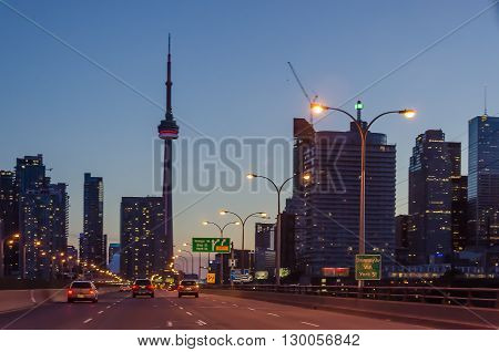 Toronto Highway At Night With Cars, On