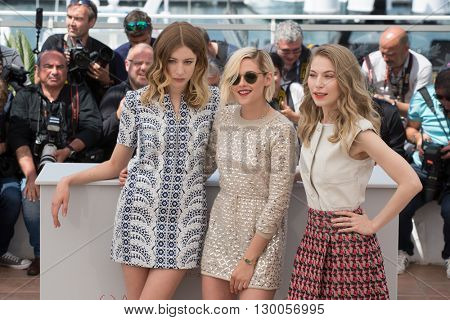 Sigrid Bouaziz , Kristen Stewart, Nora von Waldstatten  at the photocall for 'Personal Shopper' at the 69th Festival de Cannes. May 17, 2016  Cannes, France
