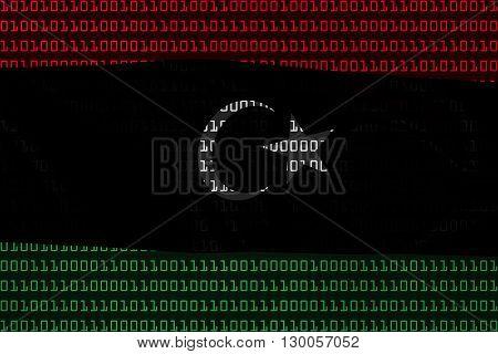 Libyan Technology Concept - Flag Of Libya In Binary Code - 3D Illustration