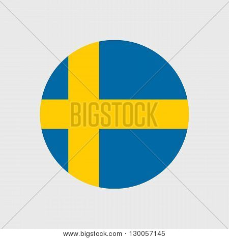 Set of vector icons with Sweden flag