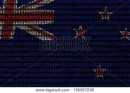 New Zealand Technology Concept - Flag Of New Zealand In Binary Code - 3D Illustration