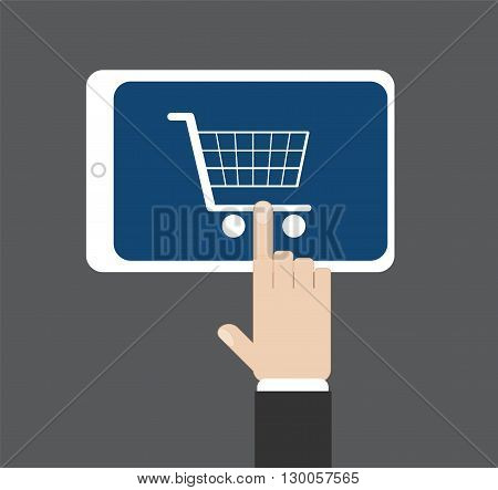 Hand click on a supermarket cart at tablet screen, vector illustration