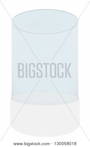 Empty glass cylinder for exhibit isolated on white background, 3D rendering