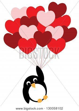 Enamored penguin flies on a red heart balloons, Cartoon vector illustration