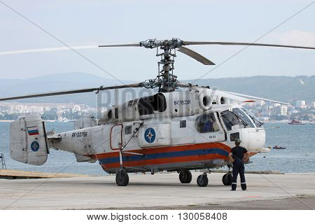 Gelendzhik Russia - September 9 2010: Ministry of Emergency Situations of Russia Kamov Ka-32 rescue helicopter is being prepared for takeoff