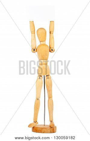Wooden dummy holding paper card isolated on a white background