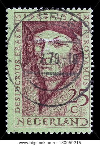 ZAGREB, CROATIA - JUNE 24: A stamp printed in Netherlands shows Desiderius Erasmus (1469-1536), scholar, circa 1969, on June 24, 2014, Zagreb, Croatia
