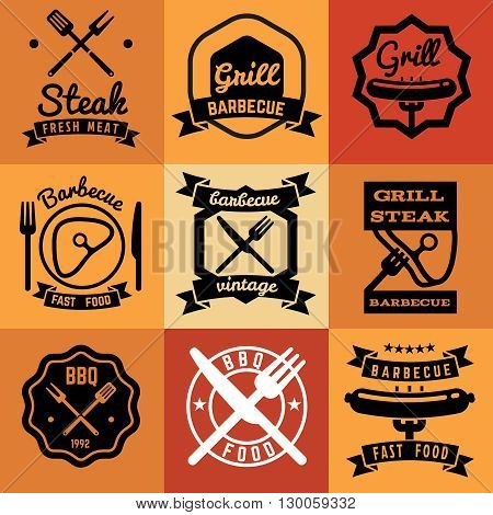 Barbecue party vintage vector emblems, labels, logos for BBQ steak posters. Barbecue grill logo and bbq badge collection. Logo label and emblem for bbq picnic illustration