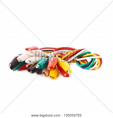 Bunch connected of colorful wire over isolated white background