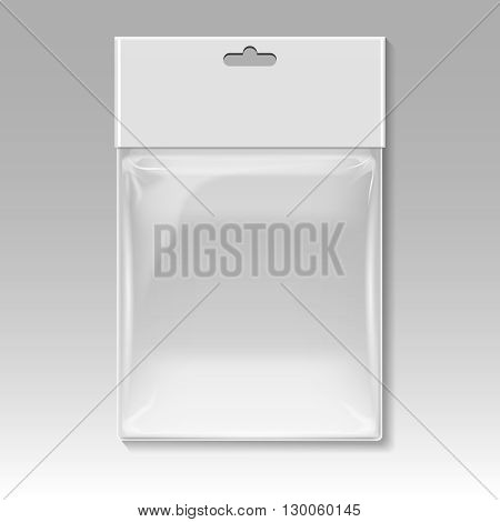 Blank plastic pocket bag vector template. Container polythene plastic and package for product, design sterile plastic bag illustration