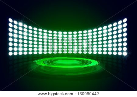 Green Great Premiere Show Background. Stage podium shining with spotlights rays
