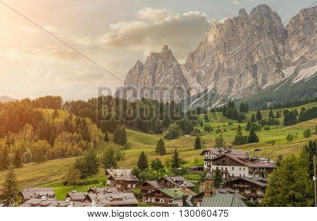 Italian small town of Cortina d'Ampezzo in autumn