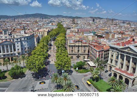 Top view of Barcelona - La Rambla street