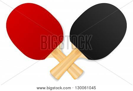two crossed ping-pong rackets on white background