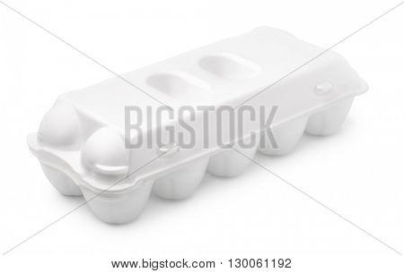 Blank egg foam carton isolated on white