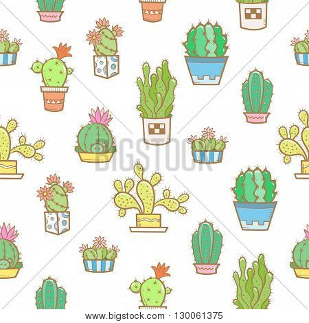 Floral seamless pattern with different cartoon cactuses  on a white  background. Different types of cacti. Vector image. Doodle style.
