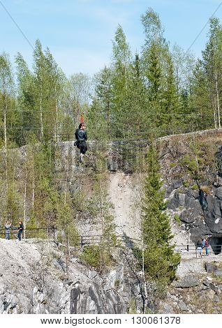 Ruskeala, Karelia, Russia-May 14, 2016: People in The Mountain Park