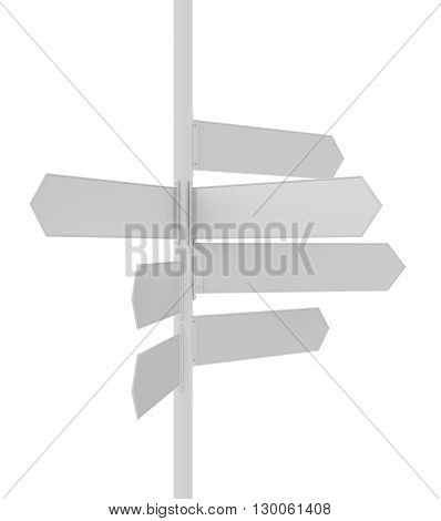 Sign Post pointing different directions for locations. 3D illustration
