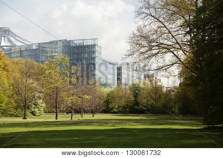 green park at spring season in Berlin financial centre, Germany landscape , citylife concept, nobody