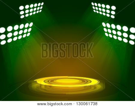 Abstract colored background with technology podium and spotlights