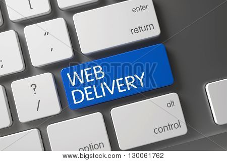 Web Delivery on Modernized Keyboard Background. Blue Web Delivery Button on Keyboard. Web Delivery CloseUp of Laptop Keyboard on Laptop. Computer Keyboard Button Labeled Web Delivery. 3D.