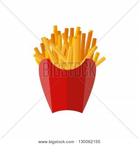 French fries flat icon. French fries in a red carton box. Junk food in paper isolated on white background. Vector illustration of street food.