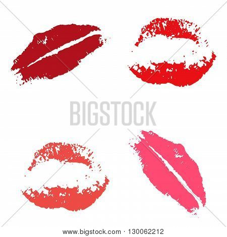 Print of red lips. Set of vector illustration on a white background. Romantic illustration for a wedding print celebration holiday invitations Web