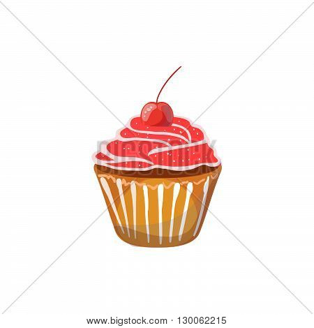 Muffin with cherry on a white background. Vector illustration of baking. Isolated vector illustration on white background