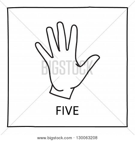 Doodle Palm icon. Counting hands showing five fingers. Graphic design element for teaching math to young children as school printout. Great for showing numbers on your design in a fun and creative way.