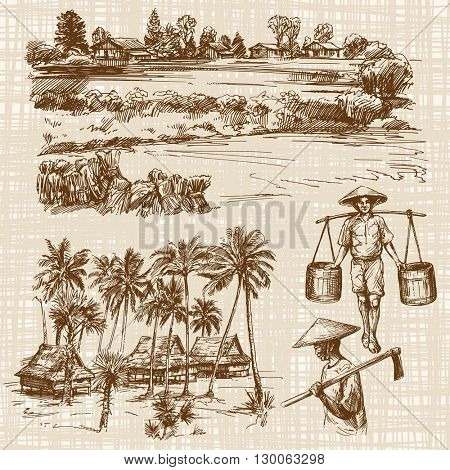 Asian landscape with rural houses. Asian farmer in work. Hand drawn illustration.
