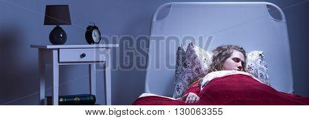 Girl Sleeping In Single Bed
