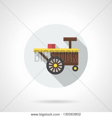 Brown sale cart on two wheels and shadow. Summer trade, mobile street shop for selling coffee, ice cream and desserts. Round flat color style vector icon.