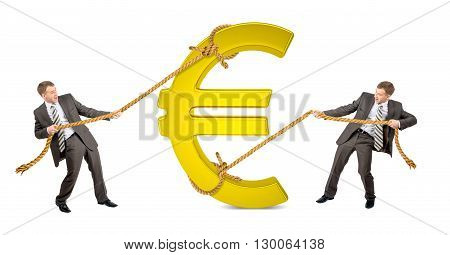 Businessman pulling glowing euro sign against another man isolated on white background