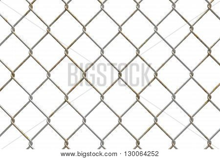 3D Metallic Fence Illustration. Metal Fence Isolated on White.