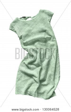 Green crumpled lacy dress isolated over white