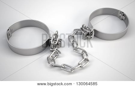 Rendered handcuffs on grey background, 3d rendering. Close up view