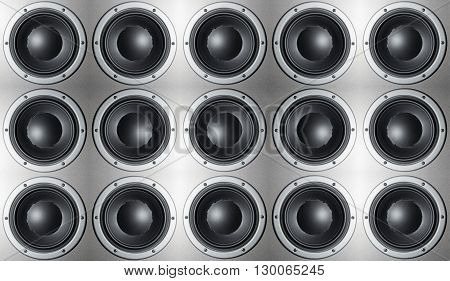 Many loudspeaker speaker closeup. Sounds of music