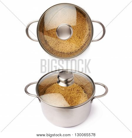 Set of metal pan with glass lid filled with dry noodles yellow pasta over isolated white background, different foreshortenings