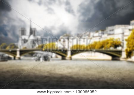 Paris the Seine and Notre Dame background blurred effect